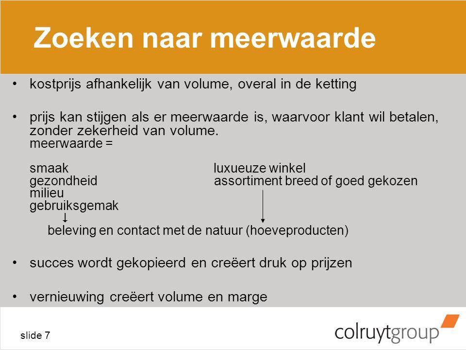 slide 7 Zoeken naar meerwaarde kostprijs afhankelijk van volume, overal in de ketting prijs kan stijgen als er meerwaarde is, waarvoor klant wil betalen, zonder zekerheid van volume.