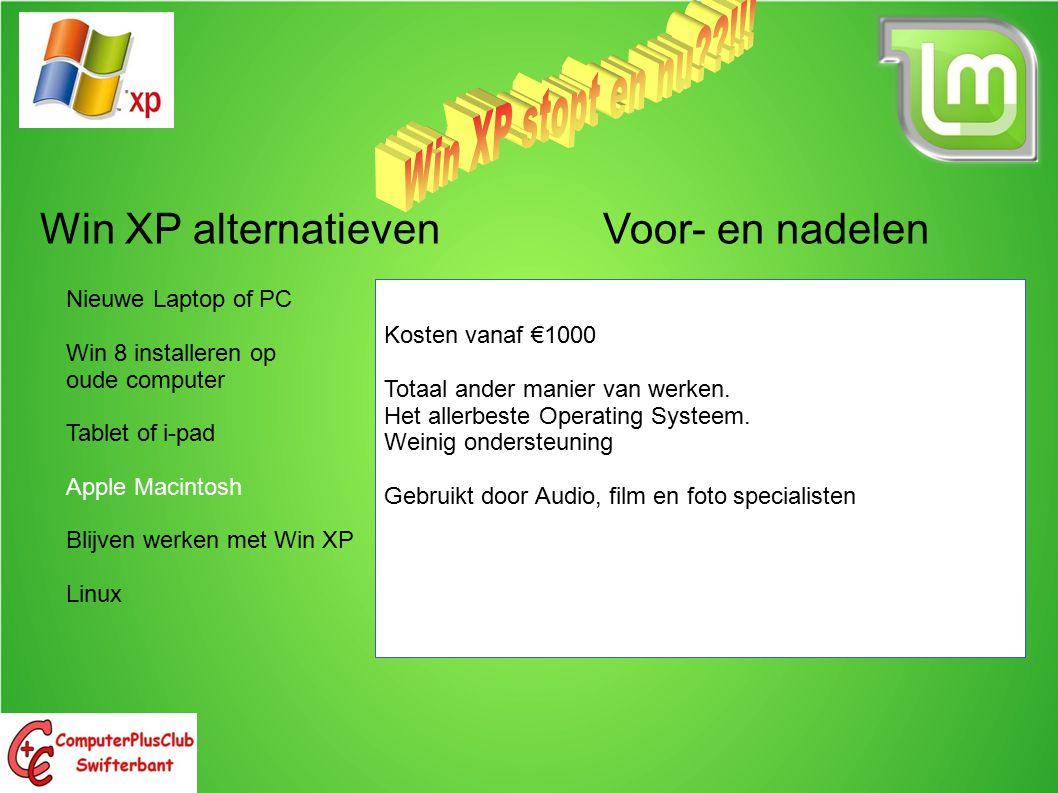 Win XP alternatieven Voor- en nadelen Nieuwe Laptop of PC Win 8 installeren op oude computer Tablet of i-pad Apple Macintosh Blijven werken met Win XP Linux Kosten vanaf €1000 Totaal ander manier van werken.
