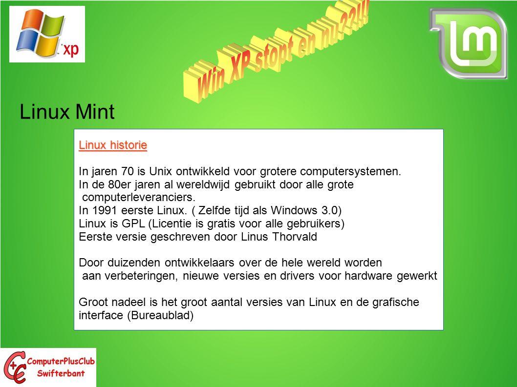 Linux Mint marktaandeel nov 2013 Category Op Linux gebaseerd Unix / oorsprong Windows Anders PC, laptop, netbook1,5 %7,5% (OS X)91% XP 31% Vista (3%) 7 (47% 8 (6%) SmartPhone, tablet39,4% (Android) 20,5% (I-os)1,7%39,4% Servers31,5%35,0%33.5% Supercomputer96,4%2,4%0,8%