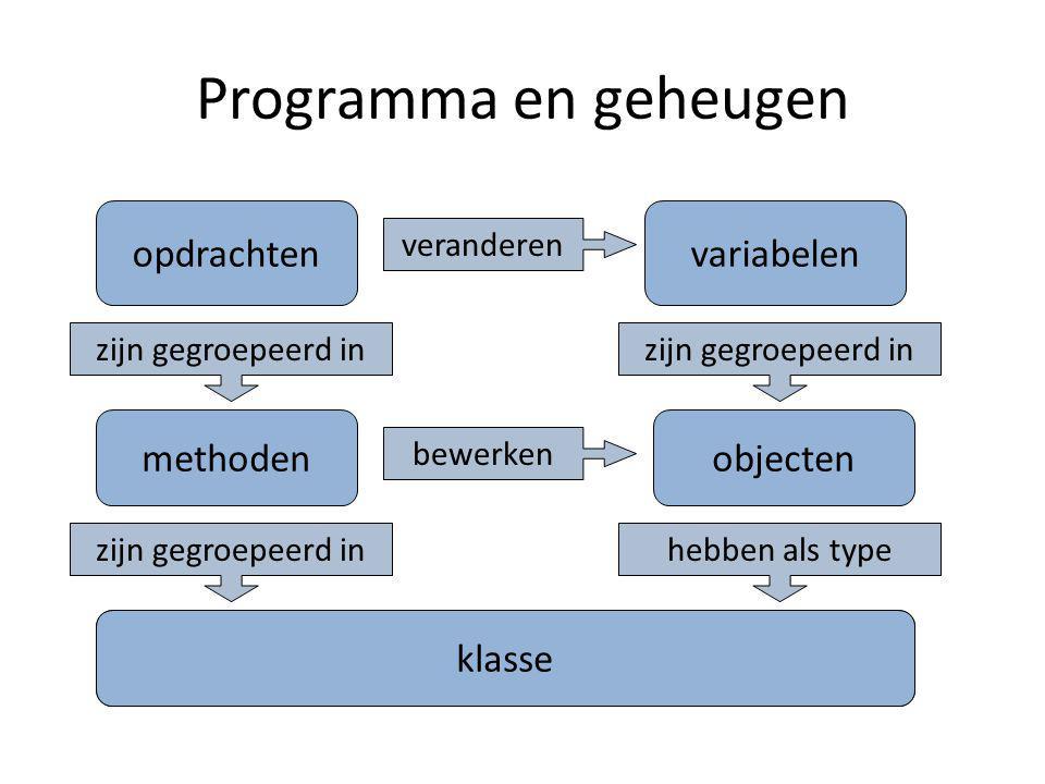 Programma en geheugen opdrachten methoden klasse variabelen objecten klasse zijn gegroepeerd in hebben als type veranderen bewerken