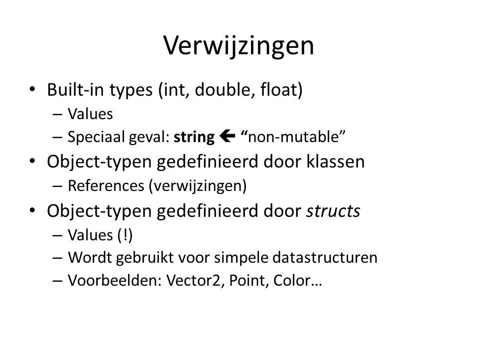 Verwijzingen Built-in types (int, double, float) – Values – Speciaal geval: string  non-mutable Object-typen gedefinieerd door klassen – References (verwijzingen) Object-typen gedefinieerd door structs – Values (!) – Wordt gebruikt voor simpele datastructuren – Voorbeelden: Vector2, Point, Color…