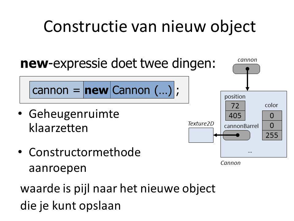 Constructie van nieuw object Geheugenruimte klaarzetten Constructormethode aanroepen new-expressie doet twee dingen: waarde is pijl naar het nieuwe object cannon die je kunt opslaan cannon = new Cannon (…) ; position cannonBarrel Cannon color … 72 4050 Texture2D 0 255