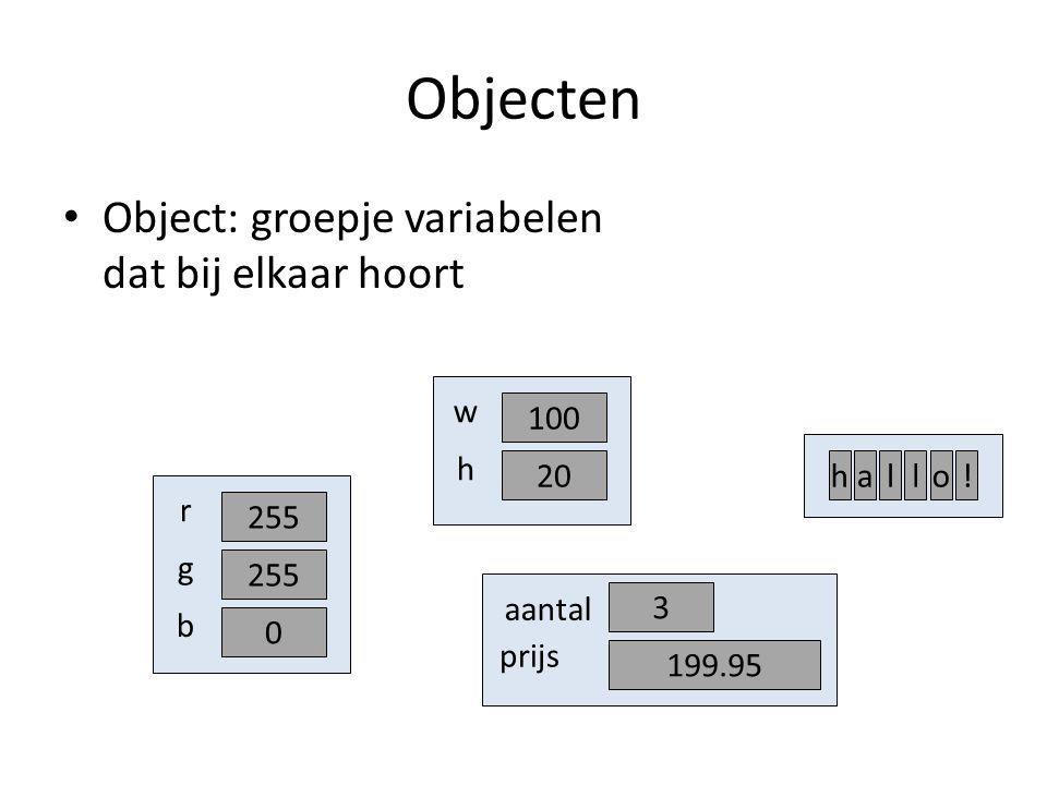 Objecten Object: groepje variabelen dat bij elkaar hoort 255 r g 0 b 100 w 20 h 3 aantal 199.95 prijs hallo!