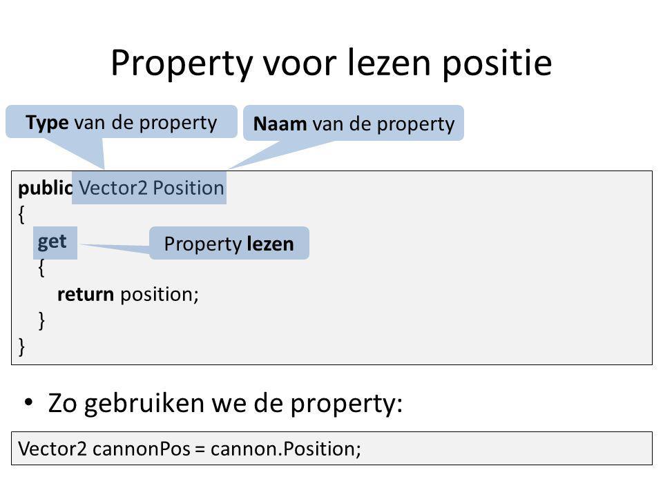 Property voor lezen positie public Vector2 Position { get { return position; } Type van de property Naam van de property Property lezen Zo gebruiken we de property: Vector2 cannonPos = cannon.Position;