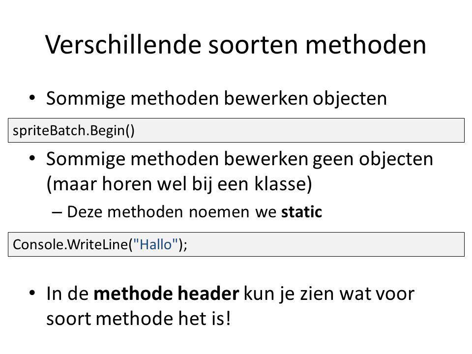 Verschillende soorten methoden Sommige methoden bewerken objecten Sommige methoden bewerken geen objecten (maar horen wel bij een klasse) – Deze methoden noemen we static In de methode header kun je zien wat voor soort methode het is.