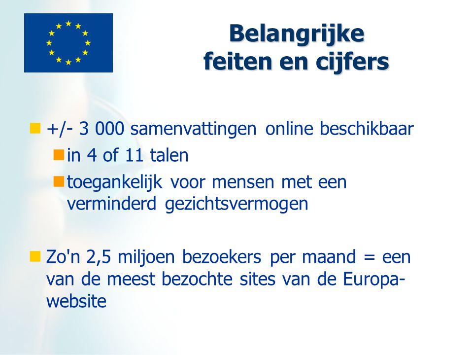 Belangrijke feiten en cijfers +/- 3 000 samenvattingen online beschikbaar in 4 of 11 talen toegankelijk voor mensen met een verminderd gezichtsvermogen Zo n 2,5 miljoen bezoekers per maand = een van de meest bezochte sites van de Europa- website