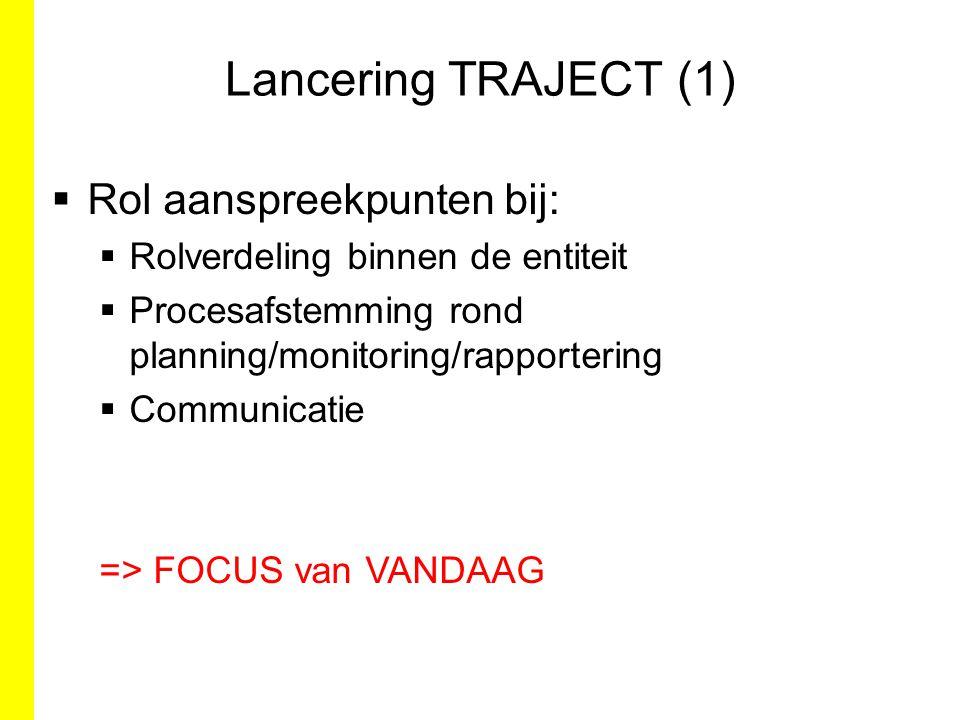 Lancering TRAJECT (1)  Rol aanspreekpunten bij:  Rolverdeling binnen de entiteit  Procesafstemming rond planning/monitoring/rapportering  Communic