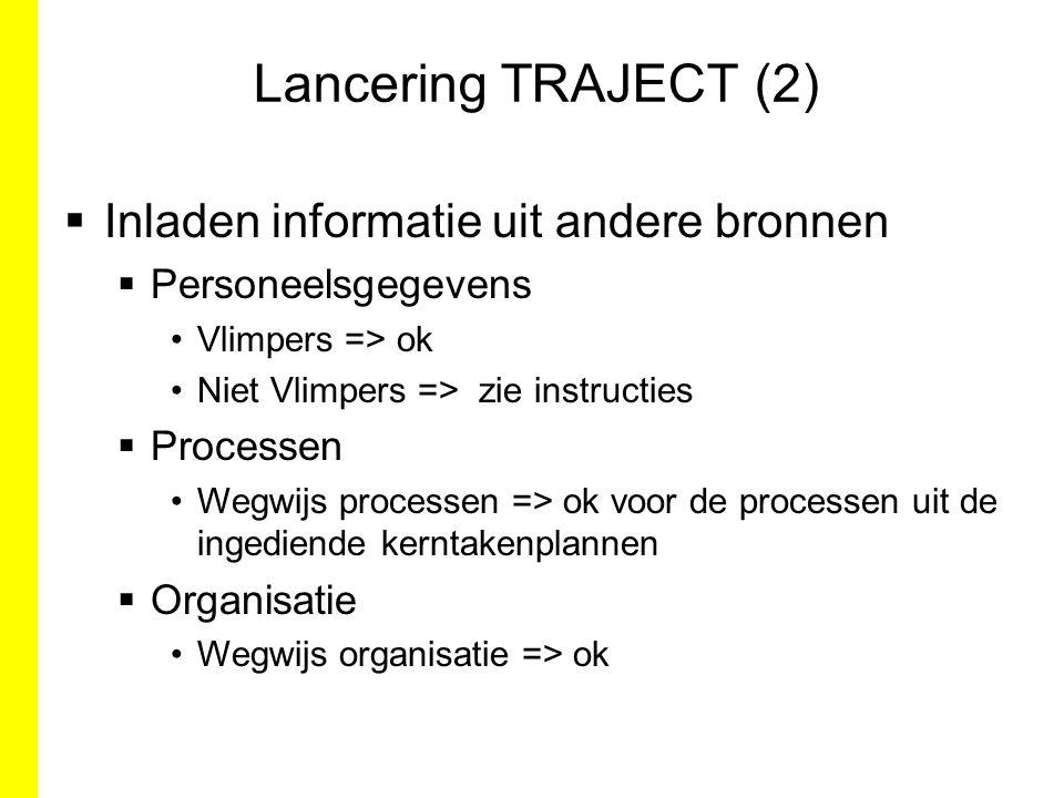 Lancering TRAJECT (2)  Inladen informatie uit andere bronnen  Personeelsgegevens Vlimpers => ok Niet Vlimpers => zie instructies  Processen Wegwijs