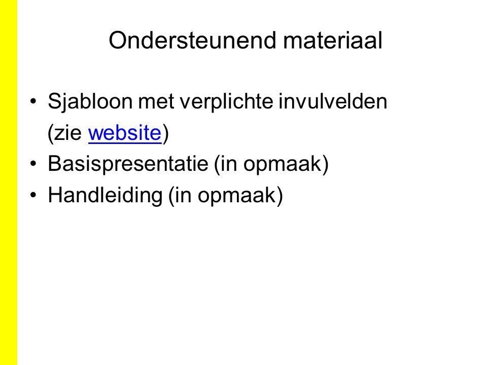 Ondersteunend materiaal Sjabloon met verplichte invulvelden (zie website)website Basispresentatie (in opmaak) Handleiding (in opmaak)
