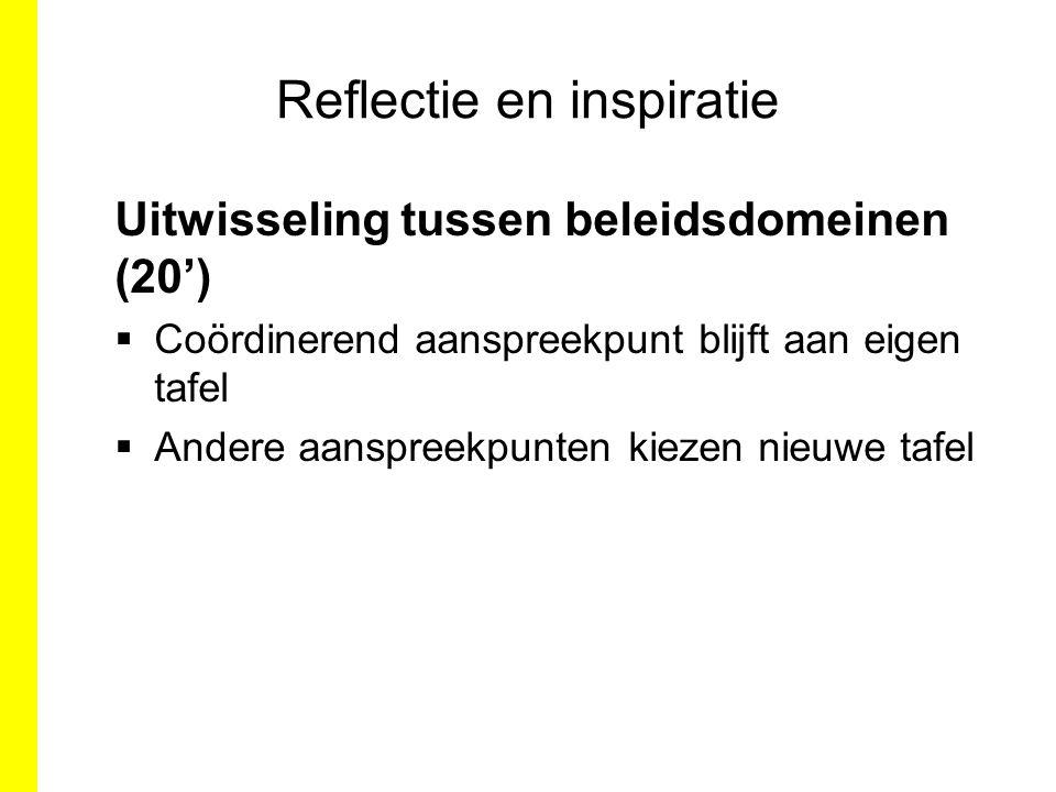 Reflectie en inspiratie Uitwisseling tussen beleidsdomeinen (20')  Coördinerend aanspreekpunt blijft aan eigen tafel  Andere aanspreekpunten kiezen