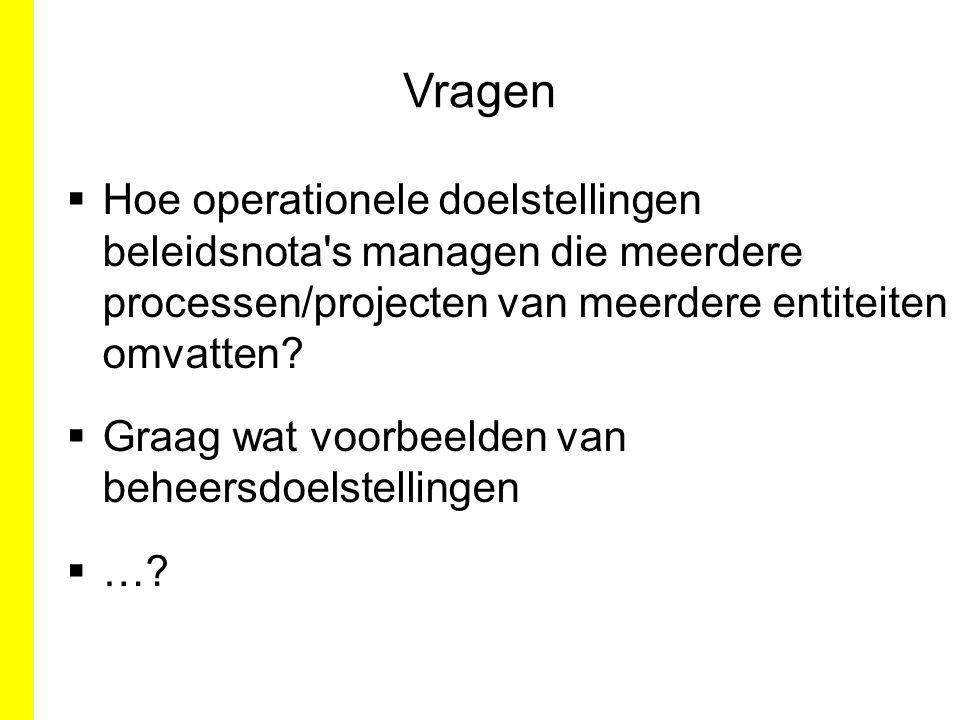 Vragen  Hoe operationele doelstellingen beleidsnota's managen die meerdere processen/projecten van meerdere entiteiten omvatten?  Graag wat voorbeel