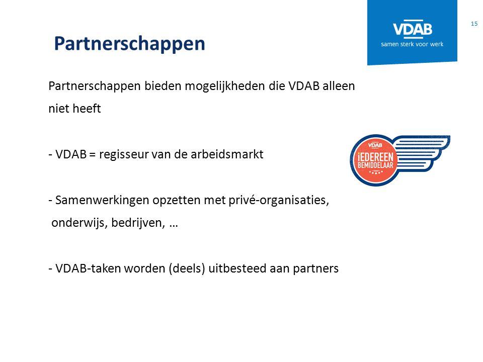 Partnerschappen Partnerschappen bieden mogelijkheden die VDAB alleen niet heeft - VDAB = regisseur van de arbeidsmarkt - Samenwerkingen opzetten met privé-organisaties, onderwijs, bedrijven, … - VDAB-taken worden (deels) uitbesteed aan partners 15