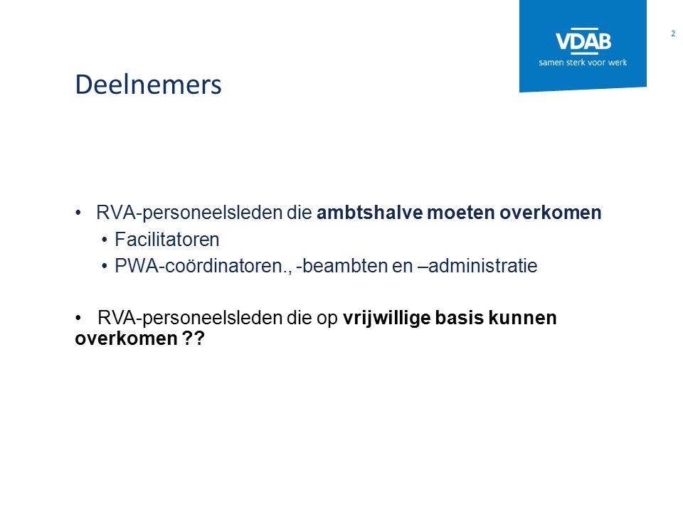 Deelnemers RVA-personeelsleden die ambtshalve moeten overkomen Facilitatoren PWA-coördinatoren., -beambten en –administratie RVA-personeelsleden die op vrijwillige basis kunnen overkomen ?.