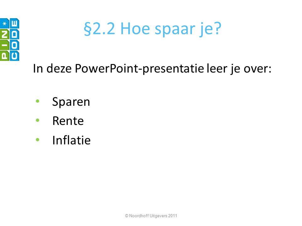 §2.2 Hoe spaar je? Sparen Rente Inflatie © Noordhoff Uitgevers 2011 In deze PowerPoint-presentatie leer je over: