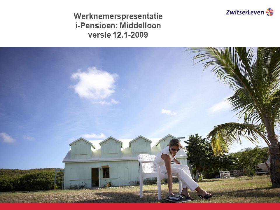 Pagina 12 6521 Gegarandeerde uitkering aan partner/wezen PP levenslang= 70% ouderdomspensioen WzP tot leeftijd 18 = 14% ouderdomspensioen per kind Ouderdomspensioen€ 13.521 (zie eerdere voorbeeld) Partnerpensioen€ 9.465 (70% 13.521) Wezenpensioen€ 1.892 (14% 13.521) 30 34 Partnerpensioen Wezenpensioen Het i-Pensioen Bij overlijden van de werknemer