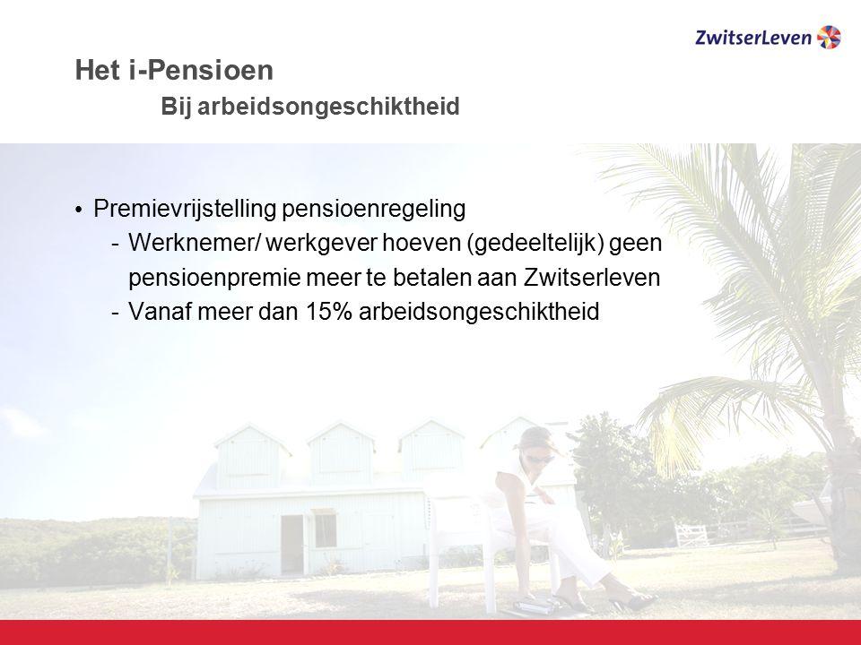 Pagina 14 Het i-Pensioen Bij arbeidsongeschiktheid Premievrijstelling pensioenregeling -Werknemer/ werkgever hoeven (gedeeltelijk) geen pensioenpremie