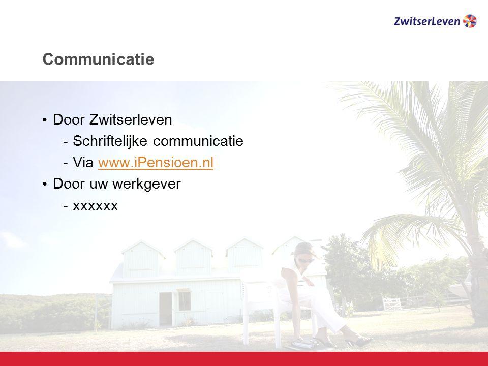 Pagina 17 Communicatie Door Zwitserleven -Schriftelijke communicatie -Via www.iPensioen.nlwww.iPensioen.nl Door uw werkgever -xxxxxx