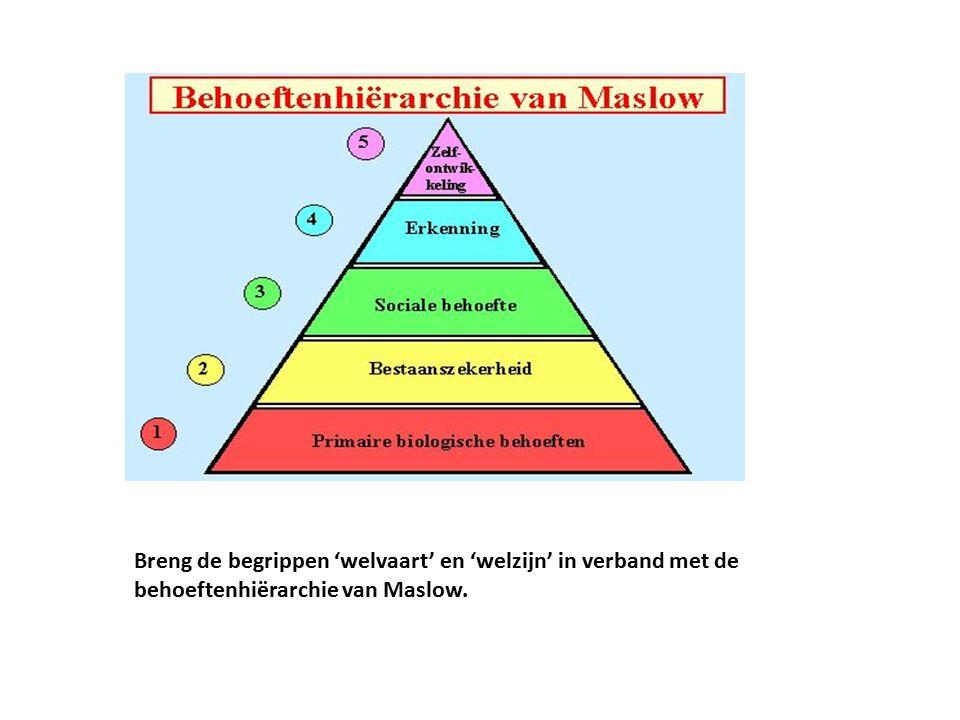 Breng de begrippen 'welvaart' en 'welzijn' in verband met de behoeftenhiërarchie van Maslow.