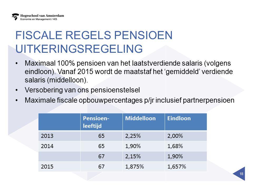 FISCALE REGELS PENSIOEN UITKERINGSREGELING Maximaal 100% pensioen van het laatstverdiende salaris (volgens eindloon). Vanaf 2015 wordt de maatstaf het