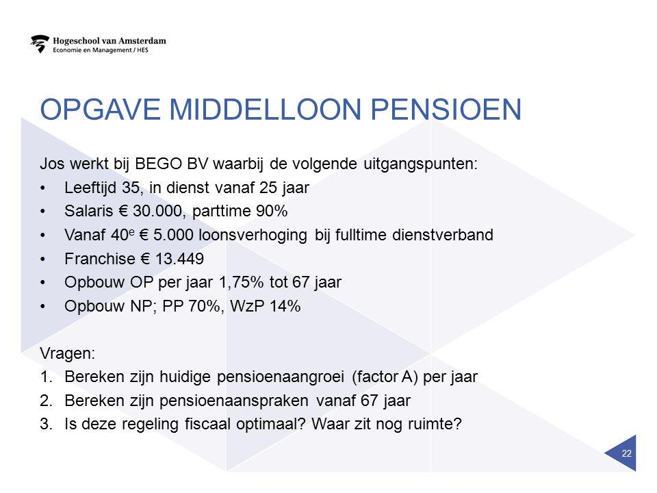OPGAVE MIDDELLOON PENSIOEN Jos werkt bij BEGO BV waarbij de volgende uitgangspunten: Leeftijd 35, in dienst vanaf 25 jaar Salaris € 30.000, parttime 9