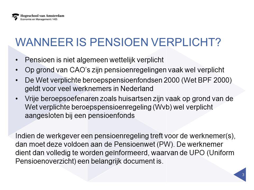 WANNEER IS PENSIOEN VERPLICHT? Pensioen is niet algemeen wettelijk verplicht Op grond van CAO's zijn pensioenregelingen vaak wel verplicht De Wet verp