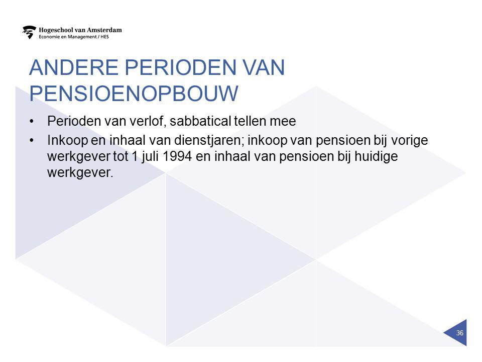 ANDERE PERIODEN VAN PENSIOENOPBOUW Perioden van verlof, sabbatical tellen mee Inkoop en inhaal van dienstjaren; inkoop van pensioen bij vorige werkgev