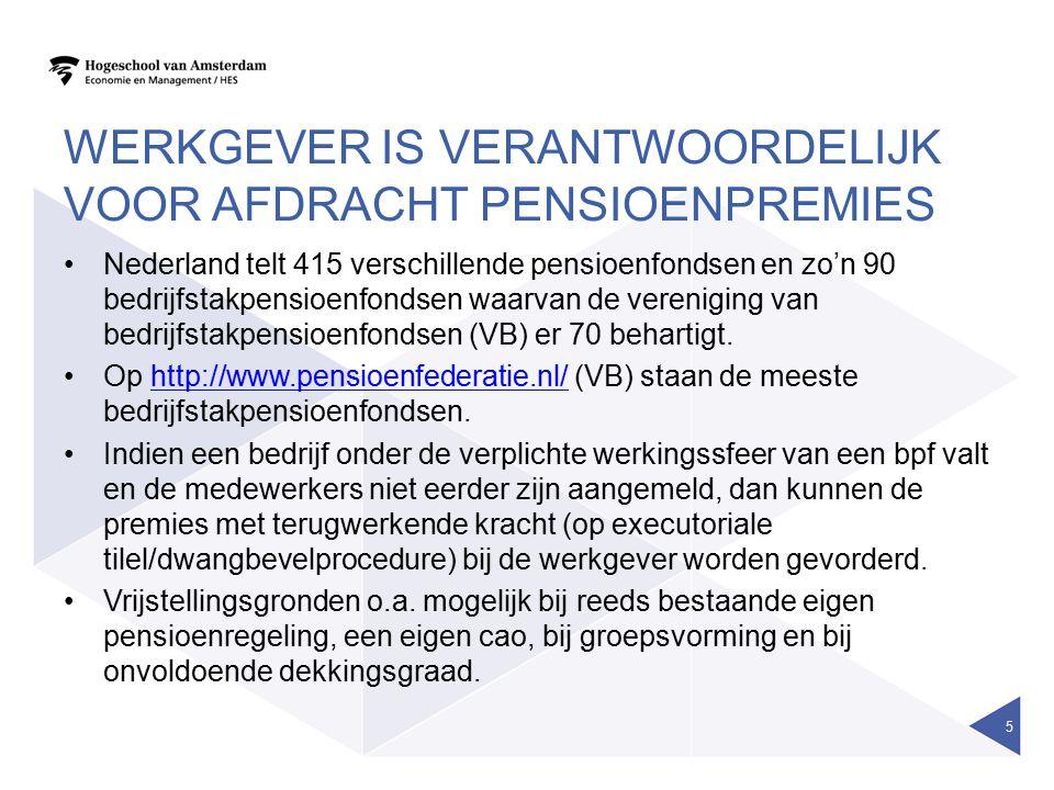 WERKGEVER IS VERANTWOORDELIJK VOOR AFDRACHT PENSIOENPREMIES Nederland telt 415 verschillende pensioenfondsen en zo'n 90 bedrijfstakpensioenfondsen waa