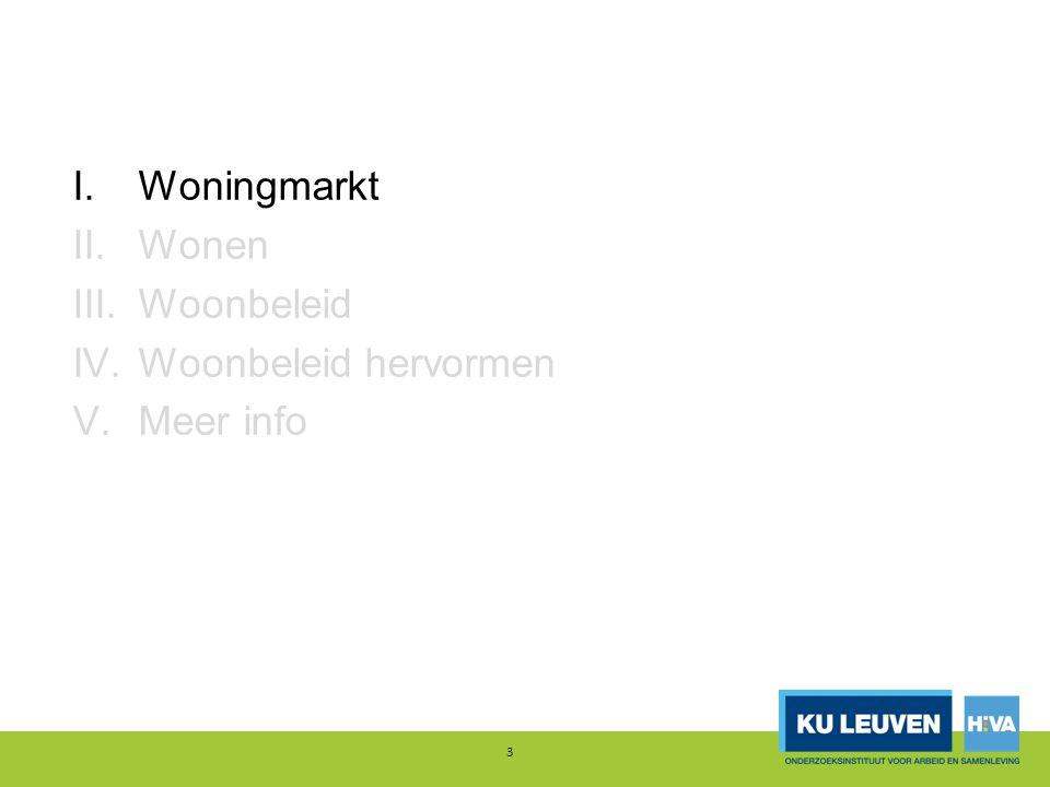 I.Woningmarkt II.Wonen III.Woonbeleid IV. Woonbeleid hervormen V. Meer info 44