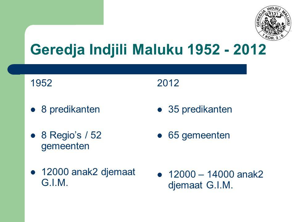 Geredja Indjili Maluku 1952 - 2012 1952 8 predikanten 8 Regio's / 52 gemeenten 12000 anak2 djemaat G.I.M.