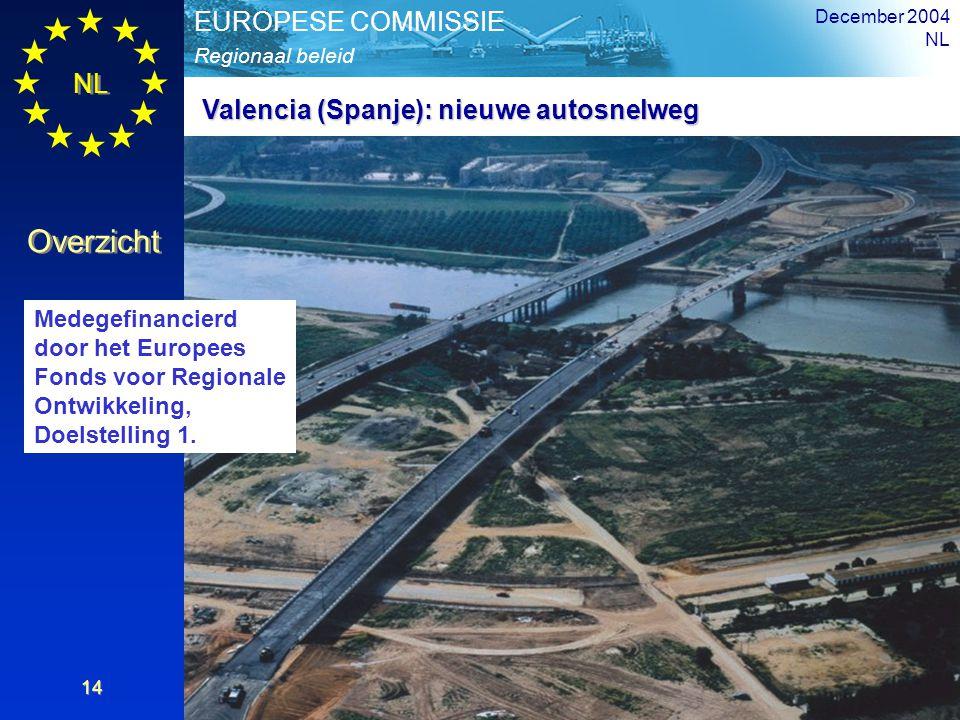 NL Overzicht Regionaal beleid EUROPESE COMMISSIE December 2004 NL 14 Valencia (Spanje): nieuwe autosnelweg Medegefinancierd door het Europees Fonds vo