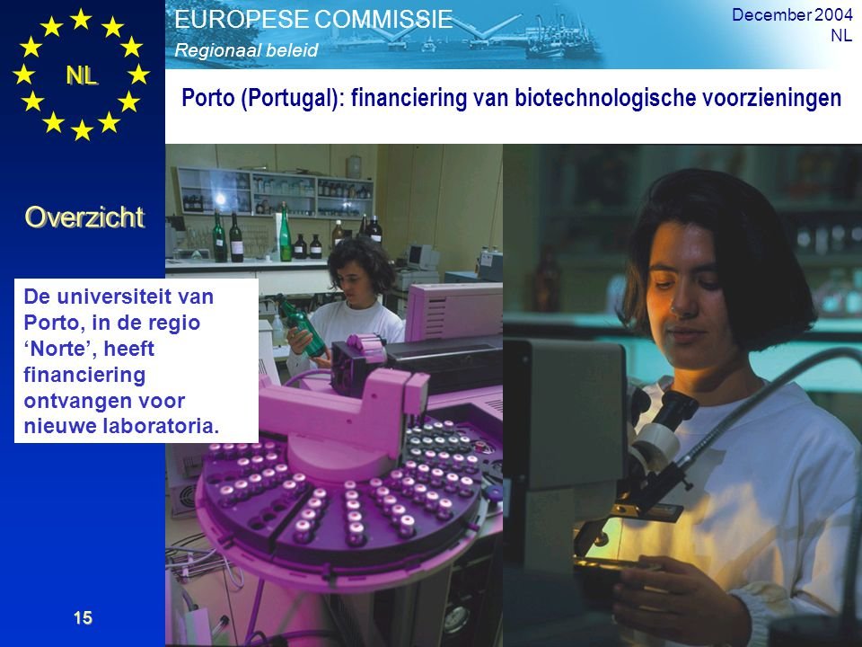 NL Overzicht Regionaal beleid EUROPESE COMMISSIE December 2004 NL 15 Porto (Portugal): financiering van biotechnologische voorzieningen De universitei