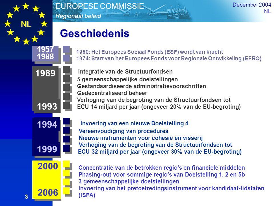 NL Overzicht Regionaal beleid EUROPESE COMMISSIE December 2004 NL 3 Geschiedenis Integratie van de Structuurfondsen 5 gemeenschappelijke doelstellinge