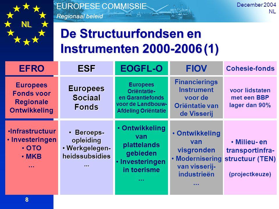 NL Overzicht Regionaal beleid EUROPESE COMMISSIE December 2004 NL 8 De Structuurfondsen en Instrumenten 2000-2006 (1) EFROESFEOGFL-OFIOV Europees Fond