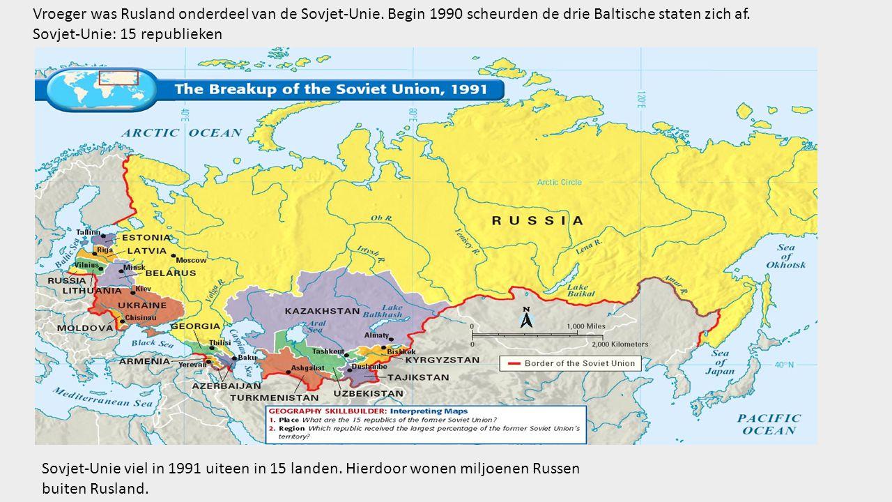 Sovjet-Unie viel in 1991 uiteen in 15 landen.Hierdoor wonen miljoenen Russen buiten Rusland.