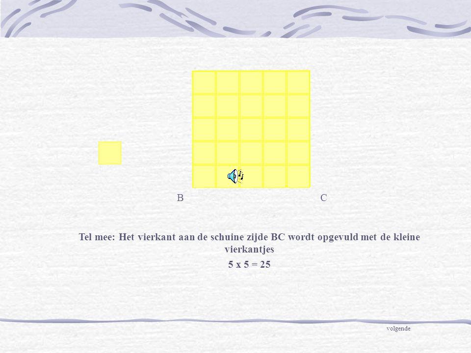BC Tel mee: Het vierkant aan de schuine zijde BC wordt opgevuld met de kleine vierkantjes 5 x 5 = 25 volgende