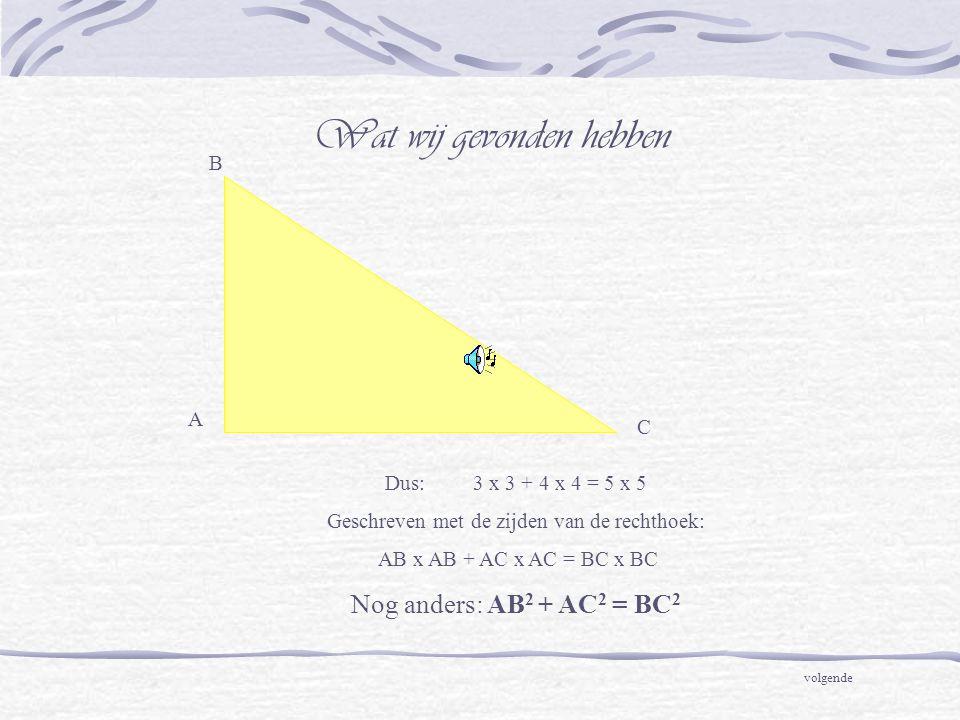 A C B Dus: 3 x 3 + 4 x 4 = 5 x 5 Geschreven met de zijden van de rechthoek: AB x AB + AC x AC = BC x BC Nog anders: AB 2 + AC 2 = BC 2 Wat wij gevonden hebben volgende