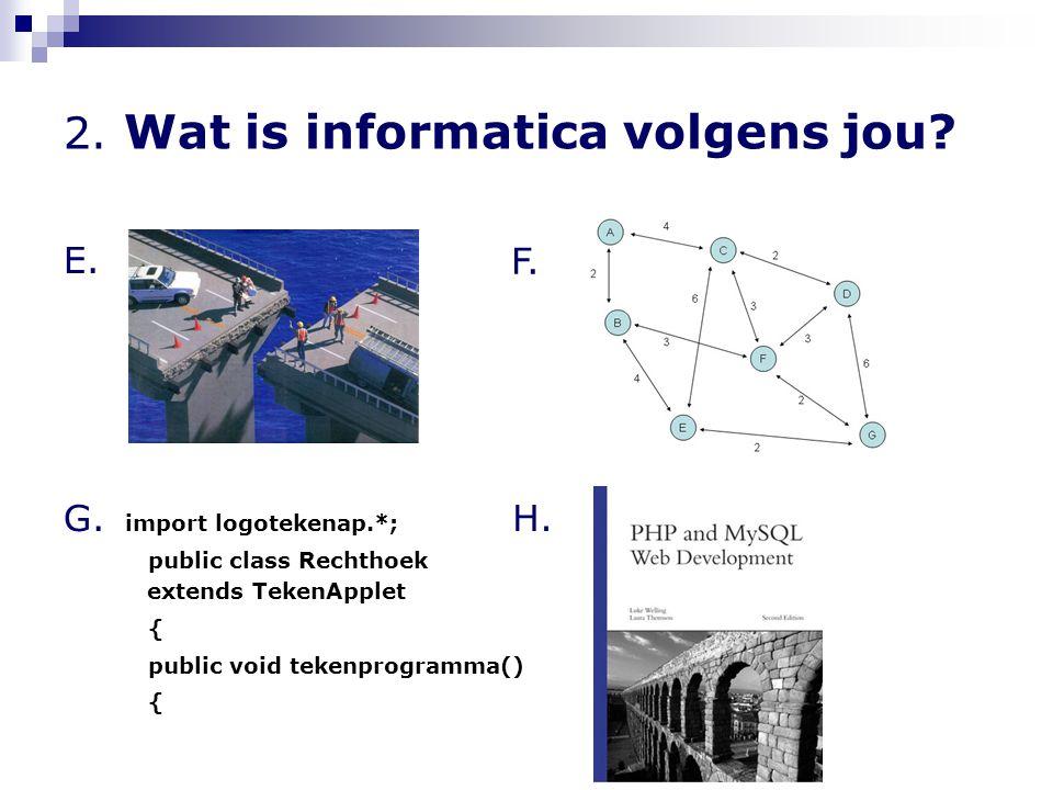 2. Wat is informatica volgens jou? E. G. import logotekenap.*; public class Rechthoek extends TekenApplet { public void tekenprogramma() { F. H.