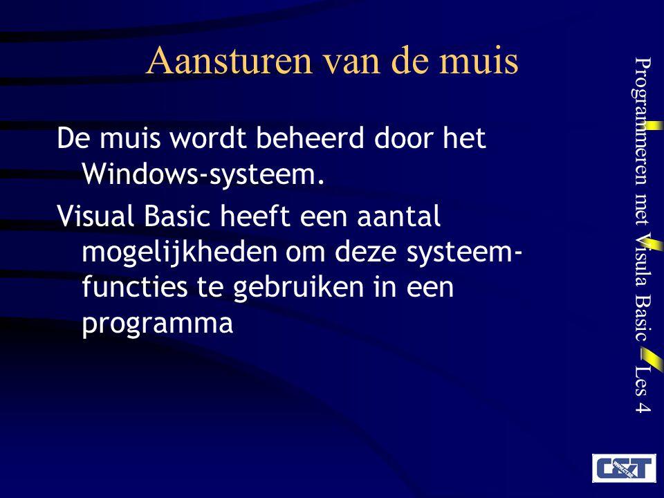 Programmeren met Visula Basic – Les 4 Aansturen van de muis De muis wordt beheerd door het Windows-systeem. Visual Basic heeft een aantal mogelijkhede