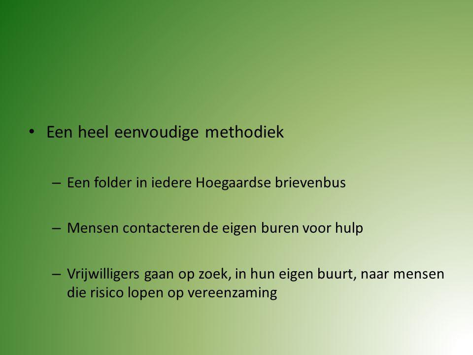 Een heel eenvoudige methodiek – Een folder in iedere Hoegaardse brievenbus – Mensen contacteren de eigen buren voor hulp – Vrijwilligers gaan op zoek, in hun eigen buurt, naar mensen die risico lopen op vereenzaming