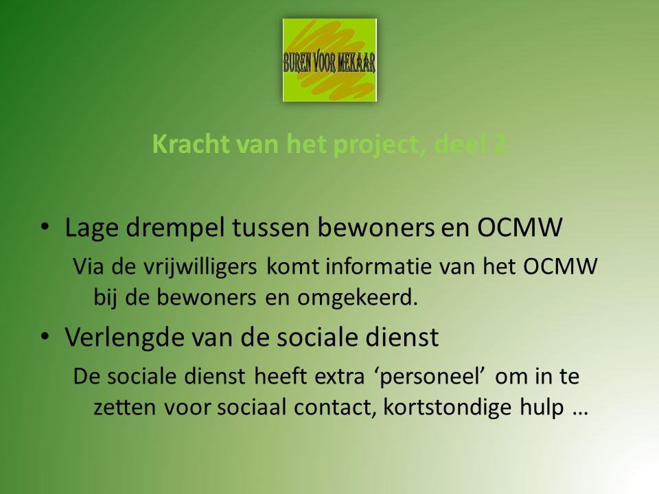 Kracht van het project, deel 2 Lage drempel tussen bewoners en OCMW Via de vrijwilligers komt informatie van het OCMW bij de bewoners en omgekeerd.