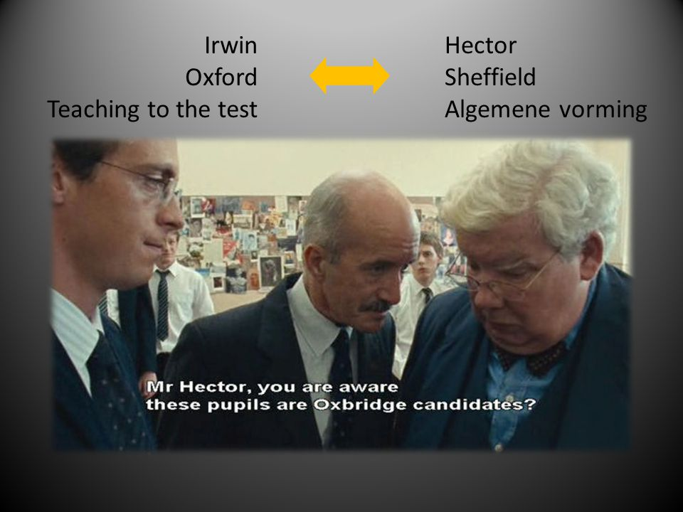 Irwin Oxford Teaching to the test Hector Sheffield Algemene vorming