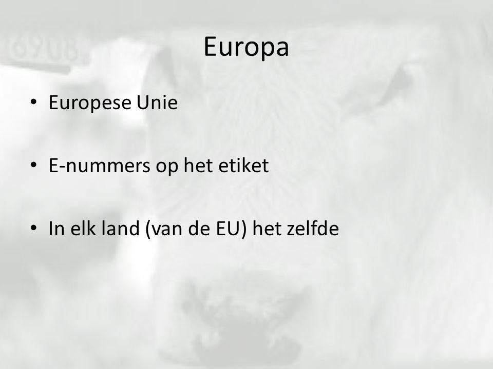 Europa Europese Unie E-nummers op het etiket In elk land (van de EU) het zelfde