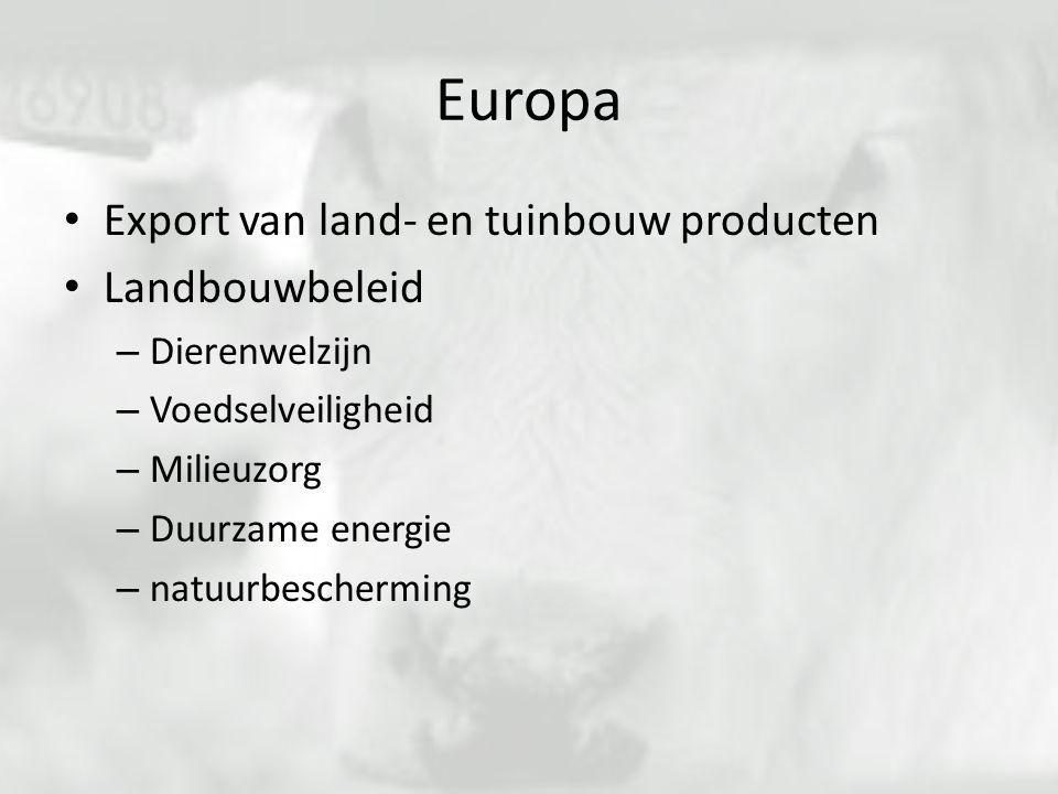 Europa Export van land- en tuinbouw producten Landbouwbeleid – Dierenwelzijn – Voedselveiligheid – Milieuzorg – Duurzame energie – natuurbescherming