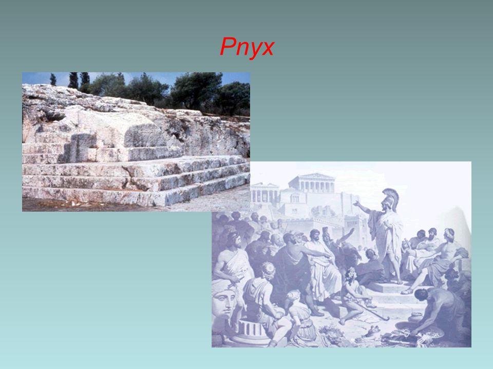Democratie; bijvoorbeeld Athene Een bijzondere bestuurder was de legerleider(s) Deze positie gaf hem veel macht; macht die misbruikt kon worden De Atheners wilden niet dat één persoon zoveel macht had, maar soms moest dat wel even Om er voor de zorgen dat de generaal niet teveel macht kreeg, waren er verschillende oplossingen –De job was maar voor één jaar, of soms zolang als een oorlog duurde –Na de oorlog ging de generaal een bepaalde tijd vrijwillig in ballingschap –Of hij werd gedwongen door een schervengericht de polis (tijdelijk of voorgoed) te verlaten 3000 2000 1500 1000 700 400 200 1 400