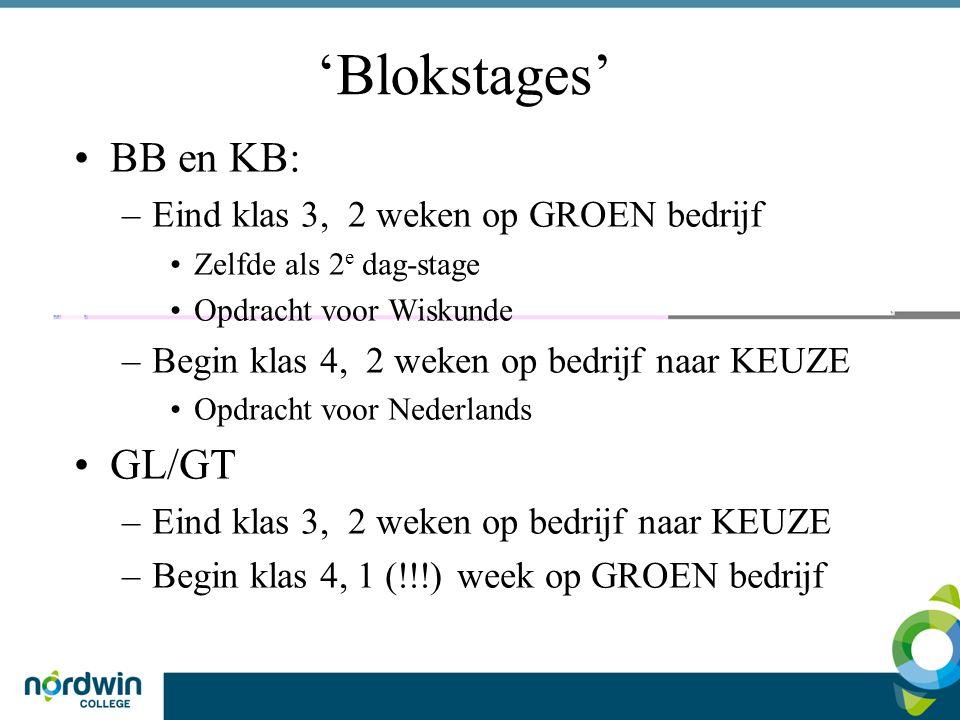 'Blokstages' BB en KB: –Eind klas 3, 2 weken op GROEN bedrijf Zelfde als 2 e dag-stage Opdracht voor Wiskunde –Begin klas 4, 2 weken op bedrijf naar K