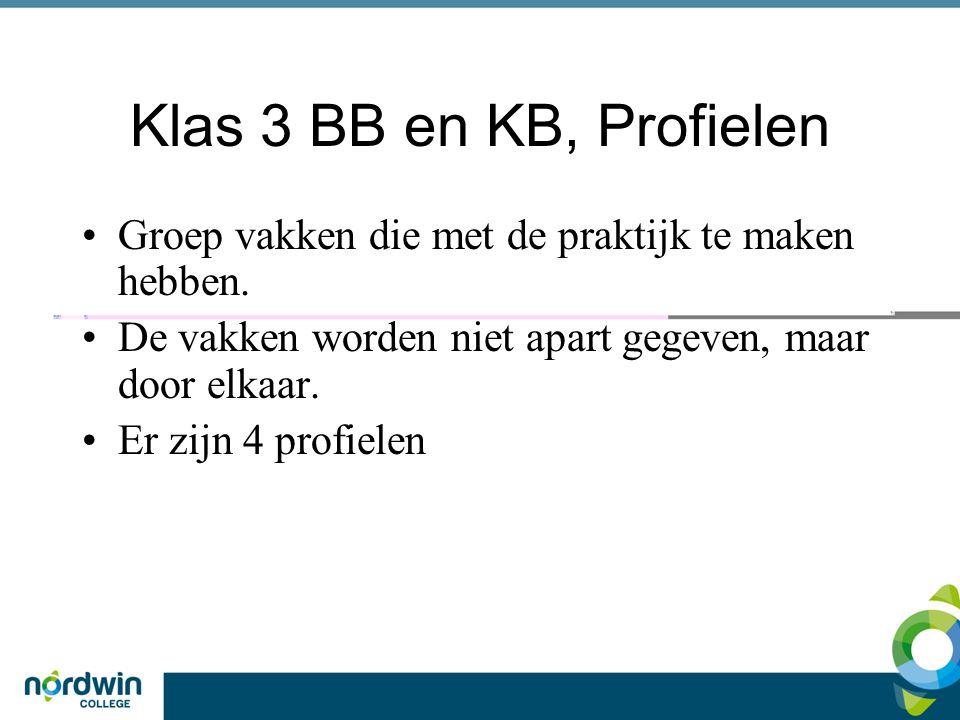 Klas 3 BB en KB, Profielen Groep vakken die met de praktijk te maken hebben. De vakken worden niet apart gegeven, maar door elkaar. Er zijn 4 profiele