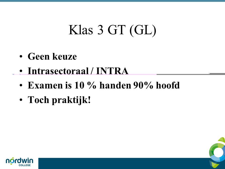 Klas 3 GL (GT) Intra, onderdelen uit de verschillende –Praktijkvakken aangevuld met competenties als samenwerken, plannen, organiseren Samen met klas 4 Een halve dag in de week