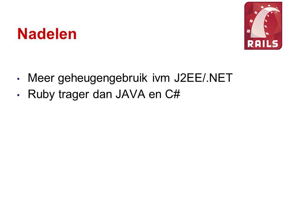 Nadelen Meer geheugengebruik ivm J2EE/.NET Ruby trager dan JAVA en C#