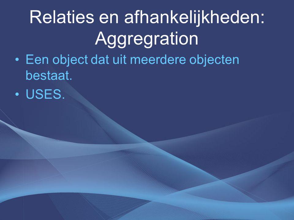 Relaties en afhankelijkheden: Aggregration Een object dat uit meerdere objecten bestaat. USES.