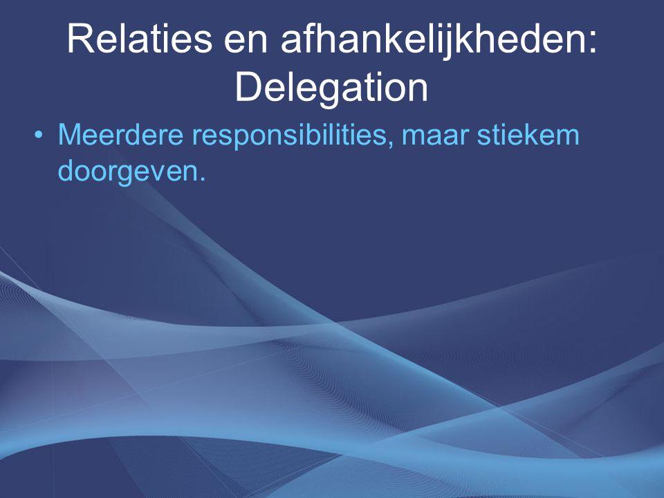 Relaties en afhankelijkheden: Delegation Meerdere responsibilities, maar stiekem doorgeven.